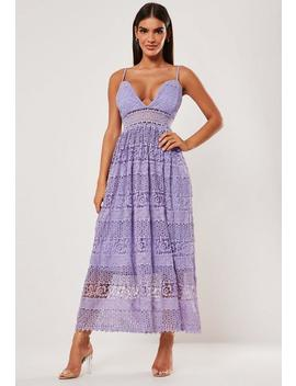 Lilac Lace Sheer Insert Midi Dress by Missguided