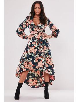 Navy Wrap Floral Print Long Sleeve Midi Dress by Missguided
