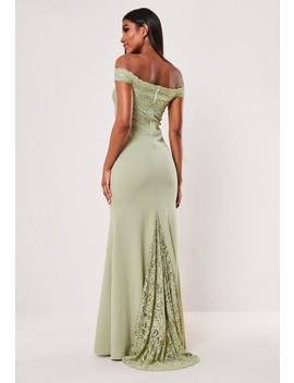 bridesmaid-green-lace-bardot-fishtail-maxi-dress by missguided