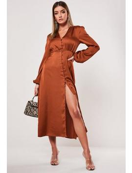 rust-milkmaid-button-front-satin-midi-dress by missguided
