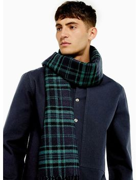 navy-check-reverse-scarf by topman
