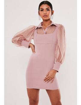 blush-organza-sleeve-2-in-1-mini-dress by missguided