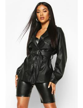 belted-faux-leather-trench-coat by boohoo