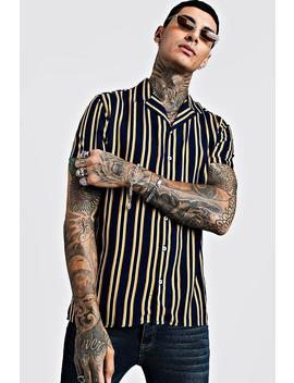 vertical-stripe-short-sleeve-revere-viscose-shirt by boohoo