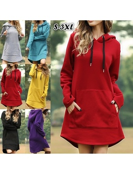s-xxxl-women-autumn-long-sleeve-solid-color-hooded-sweatshirts-pocket-baggy-dress by wish