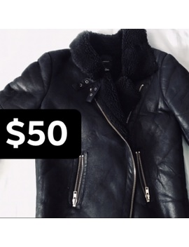 black-faux-shearling-biker-jacket by h&m