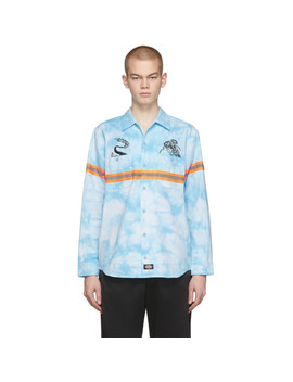 blue-dickies-edition-tie-dye-work-shirt by clot