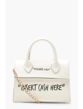 Sac Bandoulière Structuré à Slogan Insert Cash Here by Boohoo