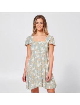 sbrn-flutter-dress---tropical-green-print by target