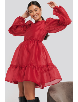 organza-puff-sleeve-dress-red by na-kd-party