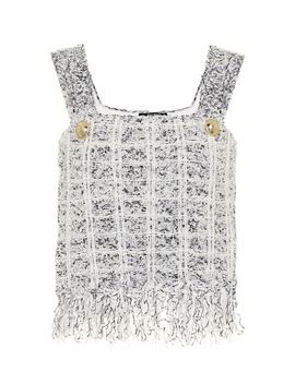 bouclé-crop-top by balmain