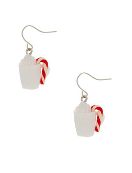 Hot Cocoa Drop Earrings   White by Claire's