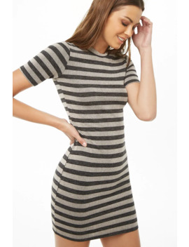 Ribbed Knit Striped Bodycon Dress by Forever 21