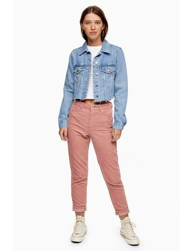 blush-pink-corduroy-mom-jeans by topshop