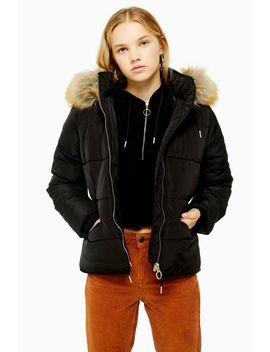 Black Detachable Faux Fur Hooded Padded Puffer Jacket by Topshop