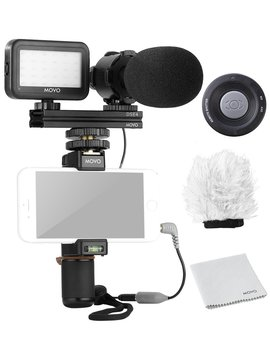 movo-smartphone-video-kit-v7-with-grip-rig,-pro-stereo-microphone,-led-light-&-wireless-remote---for-iphone-5,-5c,-5s,-6,-6s,-7,-8,-x-(regular-and-plus),-samsung-galaxy,-note-&-more by movo