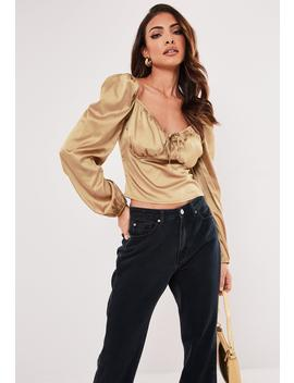 champagne-satin-cupped-milkmaid-top by missguided