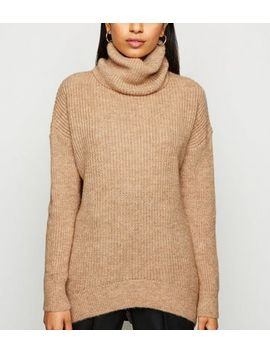 petite-camel-roll-neck-jumper by new-look