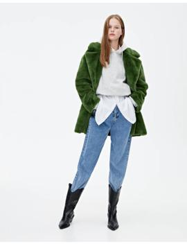 green-faux-fur-coat by pull-&-bear