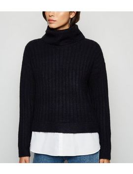 black-2-in-1-roll-neck-jumper by new-look