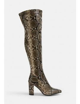 nude-snake-print-over-the-knee-boots by missguided
