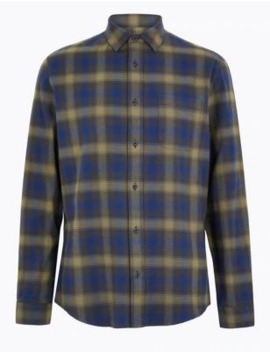 pure-cotton-checked-shirt by marks-&-spencer