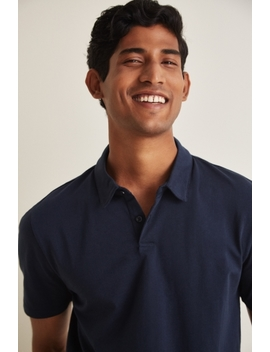 Moss London Navy Short Sleeve Jersey Polo Shirt by Moss Bros