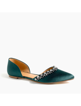Satin Jeweled Zoe D'orsay Flats by J.Crew