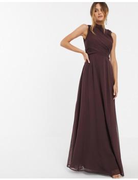 vestido-largo-con-cuello-alto-y-detalle-en-cintura-cruzado-de-asos-design by asos-design