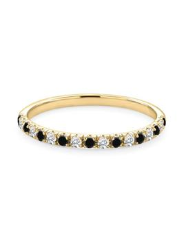 natural-black-&-white-diamond-wedding-band-for-women,-14k-solid-gold-stackable-alternate-black-white-diamond-half-eternity-ring,diamond-band by etsy