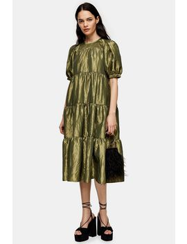green-taffeta-midi-dress by topshop