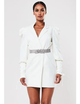 peace-+-love-ivory-embellished-belt-blazer-dress by missguided