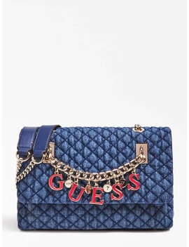 Guess Passion Denim Crossbody Bag With Logo Chain  by Guess