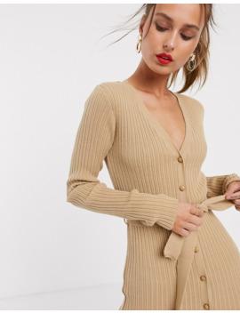 vestido-midi-con-detalle-de-botón-y-cinturón-de-asos-design by asos-design