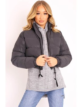 Black Padded Cropped Puffer Coat   Cameo by Rebellious Fashion