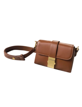 Nimae Metal Lock Leather Cross Body Bag by Jessica Buurman