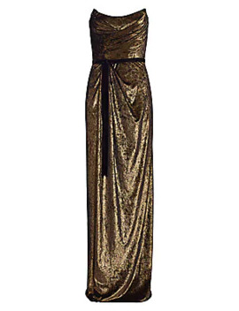 strapless-goldtone-draped-gown by marchesa-notte