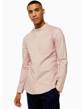 Pink Stand Collar Stretch Skinny Shirt by Topman