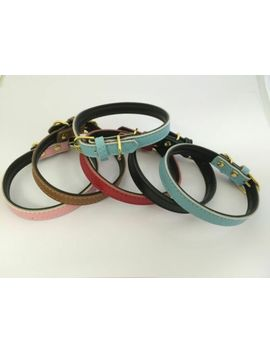 100%-real-leather-dog-puppy-pet-collar-3-sizes-5-colours-brass-coloured-buckle by ebay-seller