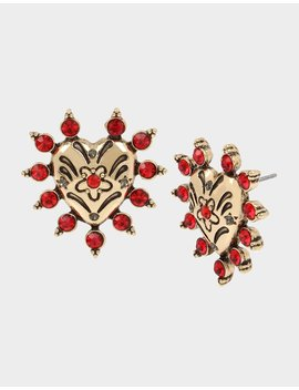 Rockin Riches Heart Stud Earrings Red by Betsey Johnson