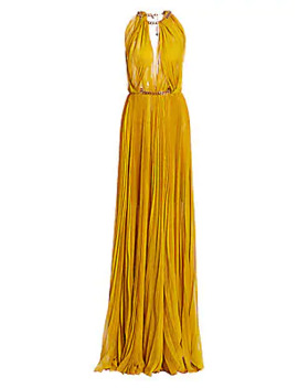 highneck-pleated-chain-gown by oscar-de-la-renta
