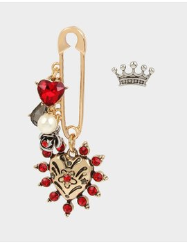 rockin-riches-safety-pin-mismatch-earrings-red by betsey-johnson