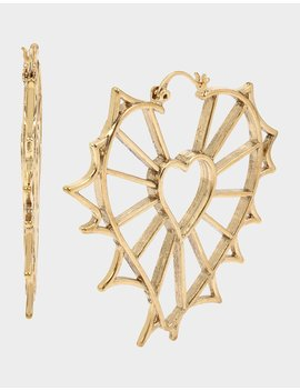 Rockin Riches Openwork Heart Earrings Gold by Betsey Johnson