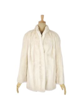 Soft Mink Fur Mink Fur Lady's Pearl Mink Half Coat Fur Lady's Medium Size Considerable Ivory Outer Mink Coat by Rakuten Global Market