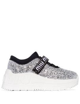 glitter-flatform-sneakers by miu-miu