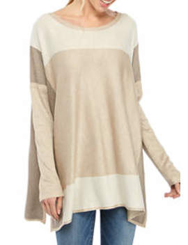 womens-color-block-poncho-sweater by fever