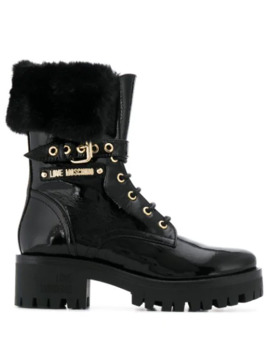 buckled-ankle-biker-boots by love-moschino