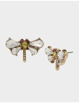 Tortifly Dragonfly Stud Earrings Crystal by Betsey Johnson