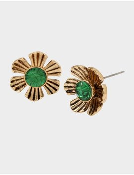 Tortifly Flower Stud Earrings Green by Betsey Johnson