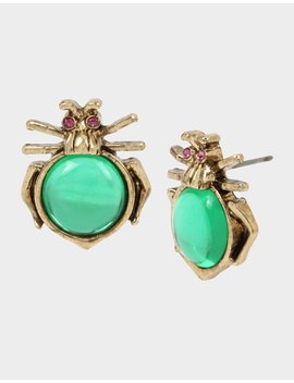 Tortifly Bug Stud Earrings Green by Betsey Johnson